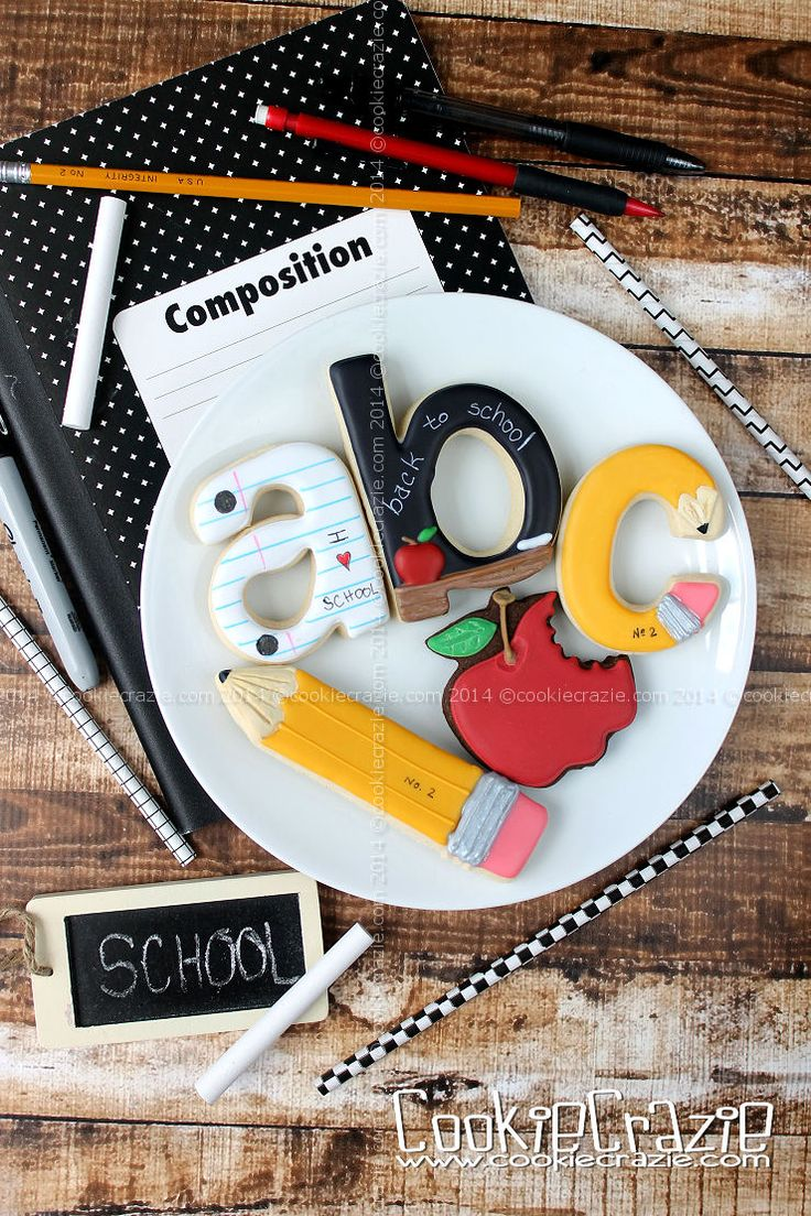 School Cookies~                          By cookie Crazie, yellow pencil, alphabet, red apple, white notebook paper, black blackboard