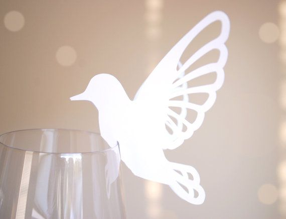 Perching Bird Shape Wine Glass Place Cards Set of by BluefinWorks, $7.50