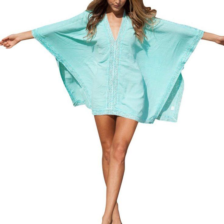 Women Sexy Beach Dress Swimwear Bikini Cover Up Lace Kaftan Dress Shirt Tops