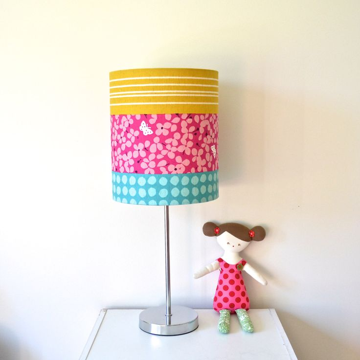 drum lamp shade 20cm japanese linen turquoise mustard fuchsia by. Black Bedroom Furniture Sets. Home Design Ideas