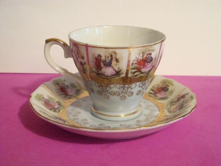 Demitasse Tea Cup and Saucer Romantic Couple Shabby Elegant Vintage Decor | eBay