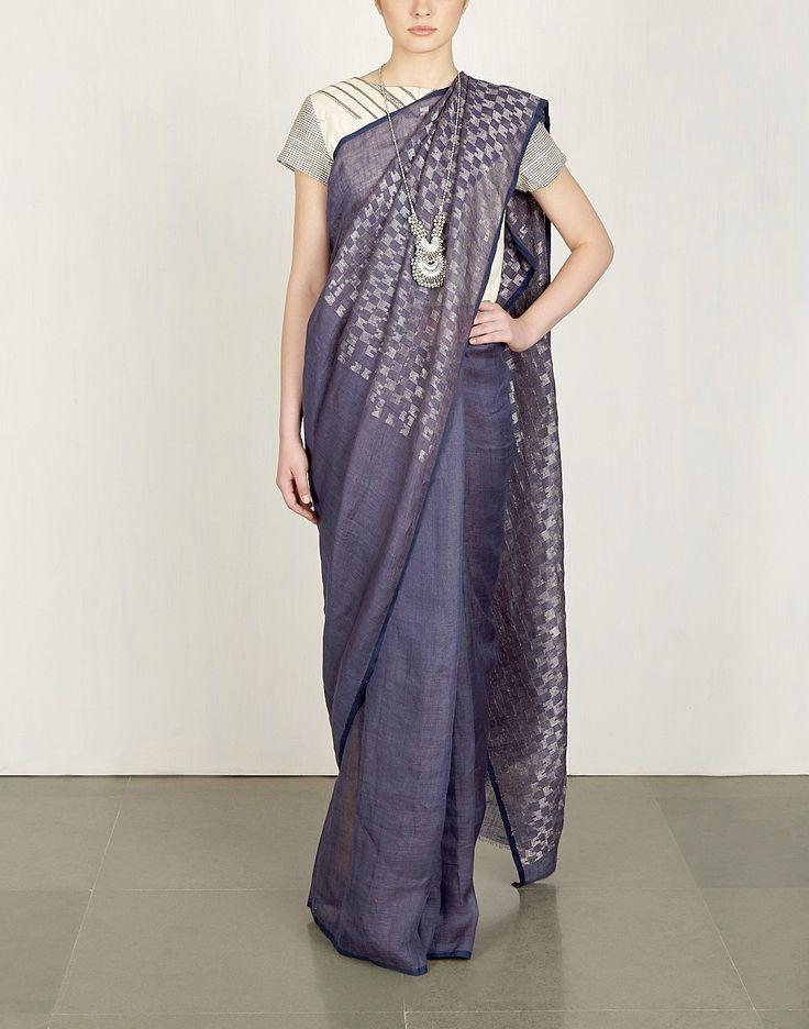 Indigo & Silver Jaamdani Sari-Anavila- img4