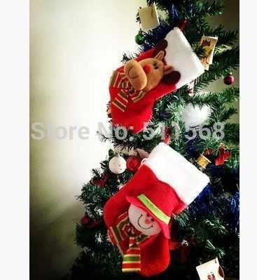 Носки стерео лося снеговик носки чулок вал украшения красный санта носки