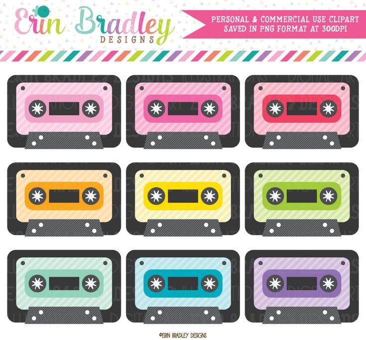 Cassette Tape Clipart Set 80 S Music Clip Art Graphics Etsy In 2021 Clip Art Cassette Tapes Planner Stickers