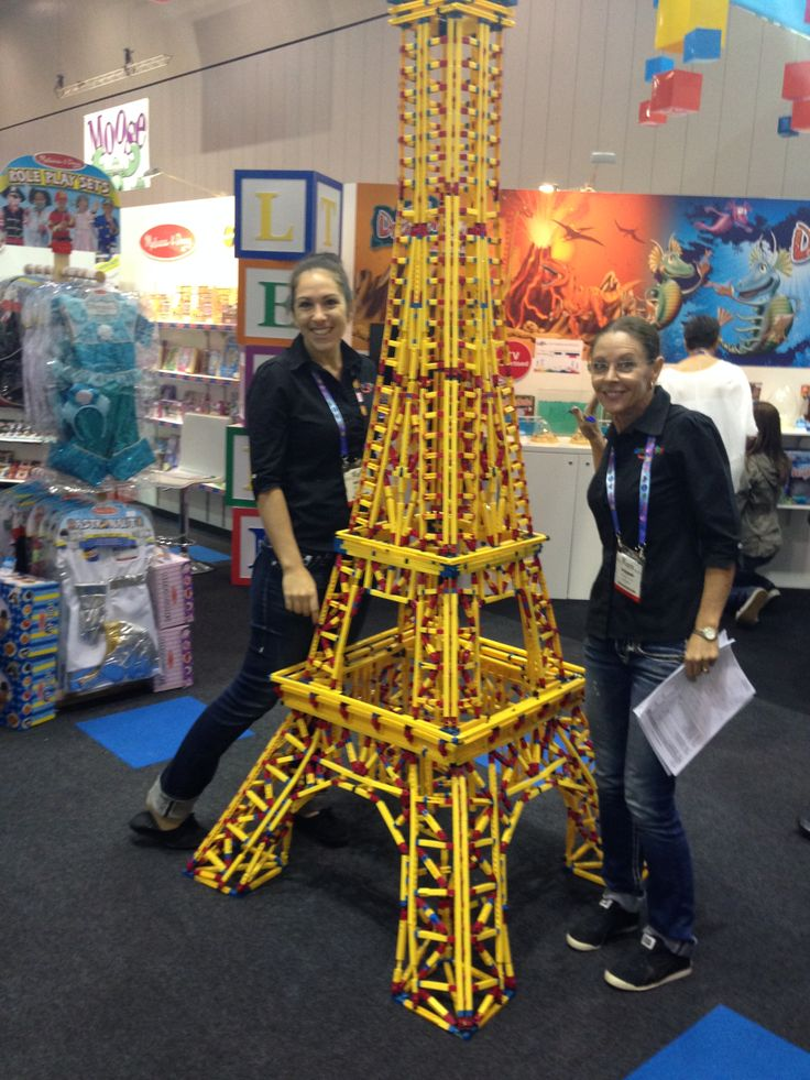 Elf Bec & our Chief Poobah modelling the Engino construction range - Je t'aime! #toyfair