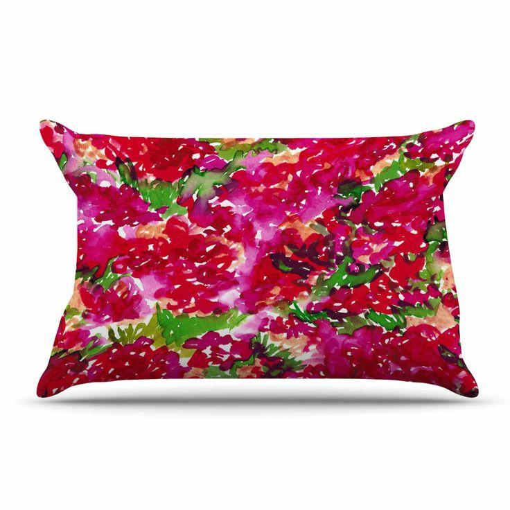 """Ebi Emporium """"Floral Assumption, Red Pink"""" Green Pink Pillow Case"""