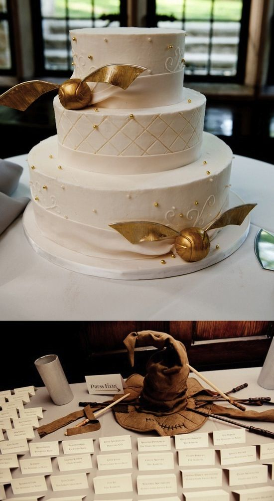 Wedding Cake With Golden Snitches We Absolutely Love The Offbeat Bride It S A Site Packed Full Of Unusual And Unique Ideas For Brides Who Like To