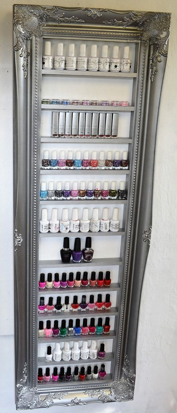 Nail polish display rack silver pewter space door ChicybeeDisplayUK