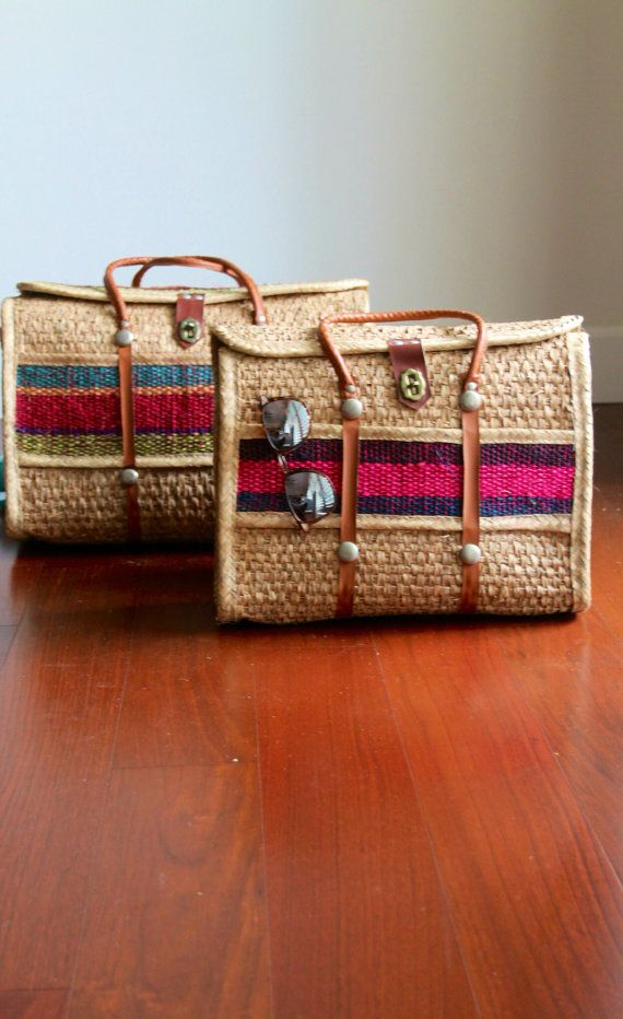 Vintage Handbag Tote Beach Bag basket raffia straw woven Mexican souvenir purse set of two
