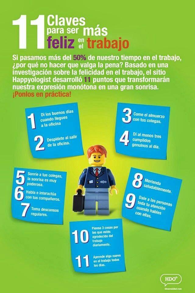 11 claves para ser más feliz en el trabajo. #VidaSaludable #Trabajo