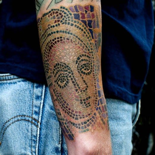 This piece by Nick Chaboya looks like it belongs in art history class. #Inked #tattoo #history #culture #mosaic #art #design #pattern