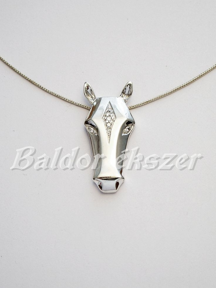 Silver necklace with horsehead by BaldorJewelry on Etsy