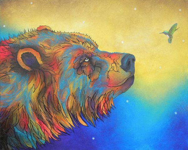 Original acrylic painting of a bear by Micqaela Jones
