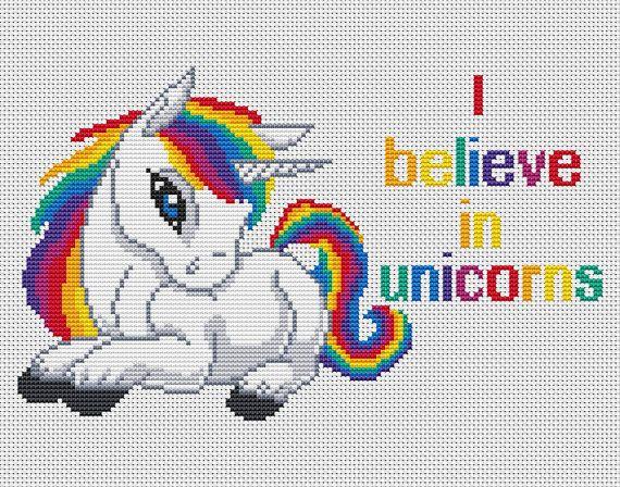 quotes cross stitch-I believe in unicorns-Rainbow by AnnaXStitch