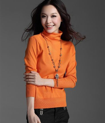 Fashion Women's Cashmere Sweaters Winter Female Solid Color Turtleneck Long-Sleeved Knitted Soft Warm Wool Pullovers