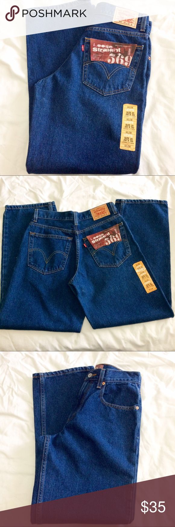 NWT Men's Levi 569 Loose Fit Straight Leg Jeans NWT Men's Levi 569 Loose Fit Straight Leg Jeans. Three pockets in the front. Two pockets in the back. Size 28/30. Slim. Levi's Jeans Straight