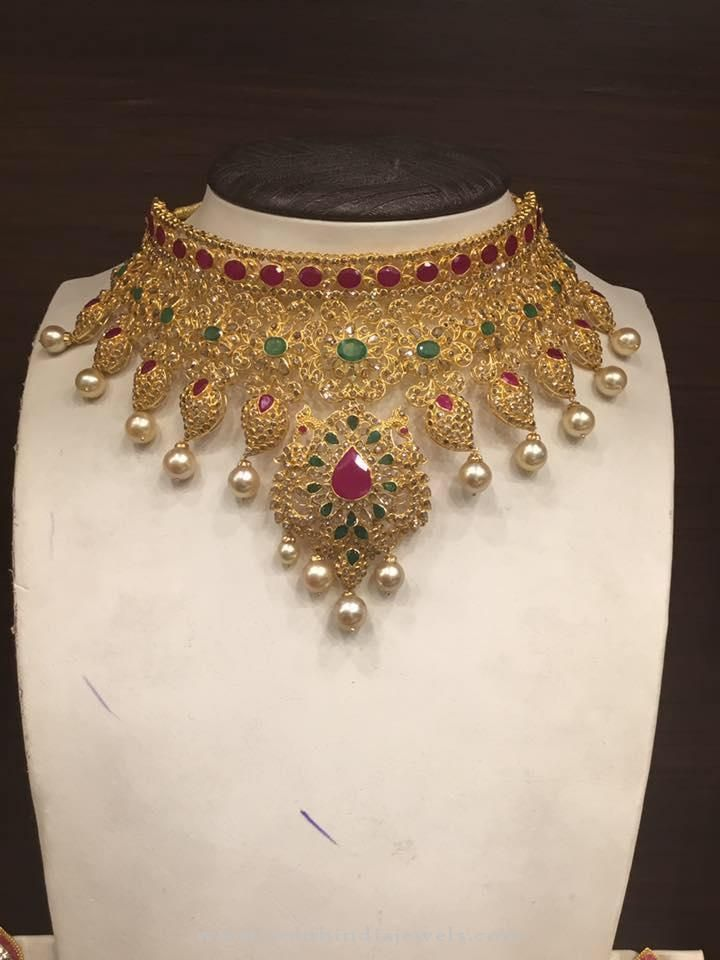 Bridal Uncut Diamond Choker Necklace Designs, Uncut Ruby Emerald Choker Necklace Designs.