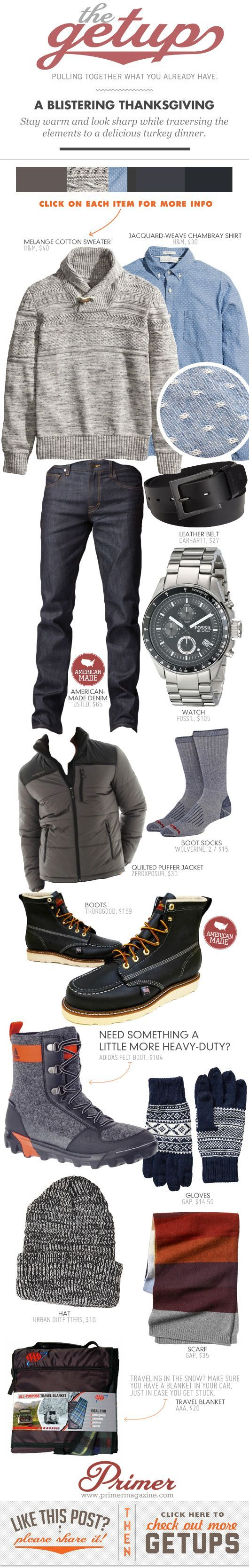 The Getup: A Blistering Thanksgiving Stay warm and look sharp while traversing the elements to a delicious turkey dinner.