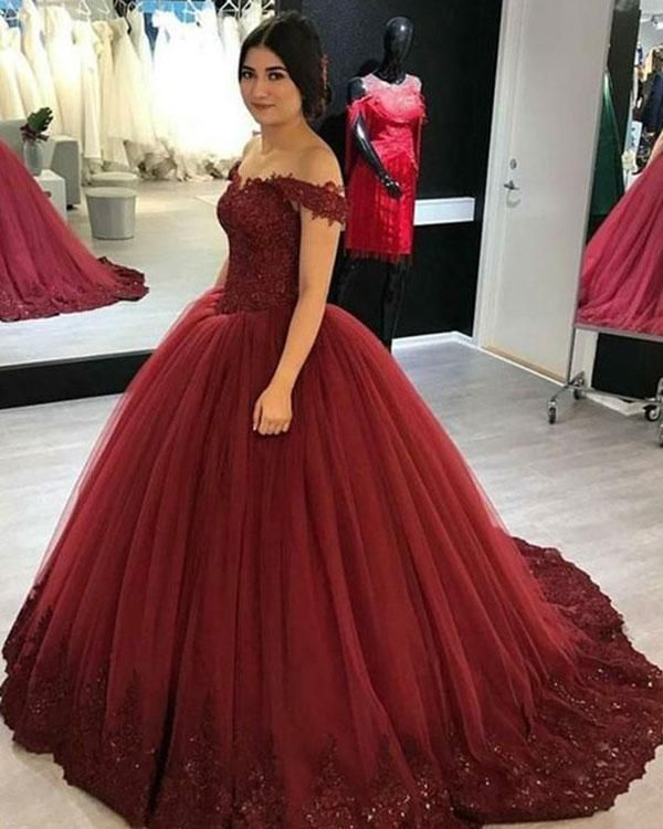 Delicate Burgundy Quinceanera Dresses Cap Sleeve Lace Appliques Tulle Puffy  Ball Gown 2018 Sweet 16 Dress bfce4a8ce400