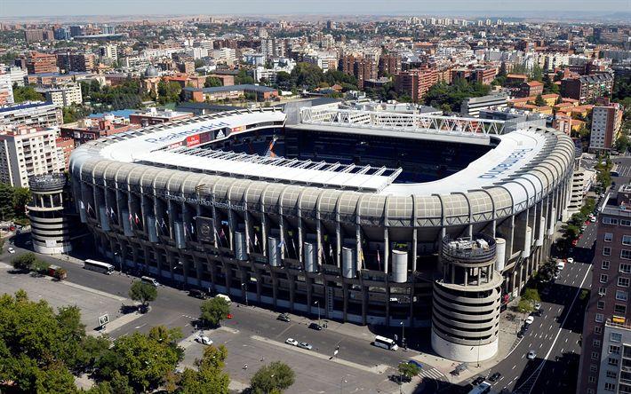 Download wallpapers Santiago Bernabeu Stadium, 4k, Madrid, Spain, football stadium, sports arena, Real Madrid