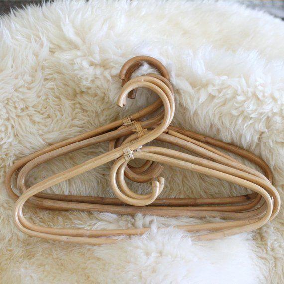 3 Vintage Boho Rattan Clothes Hangers Cane Hanger Photo Prop
