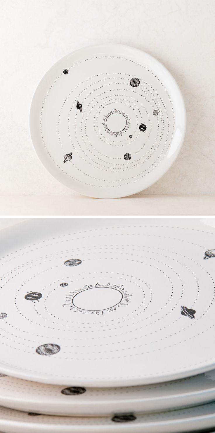 Solar system ceramic plate set