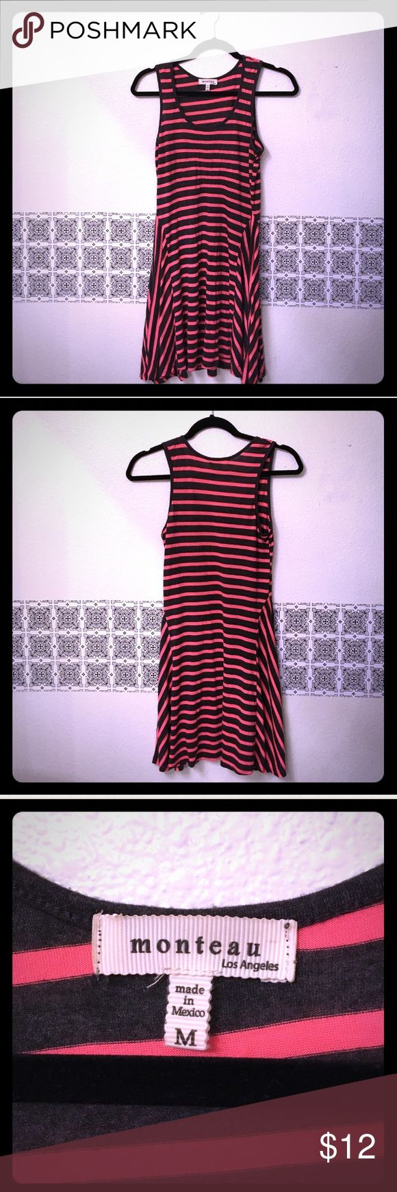 Monteau Trapeze dress sexy tank striped grey Super cute charcoal grey/ neon orange tank asymmetrical dress. Bottom is higher in middle, trapeze longer in sides. Flattering style! Good condition, no damage/ stains Monteau Dresses Asymmetrical