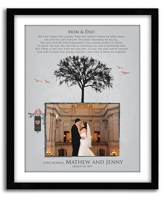 Parents Thank You Gift, Wedding GIft for Parents from Bride and Groom, Personalized Photo, Custom Colors, Names and date 11x14 Print on Etsy, $36.00