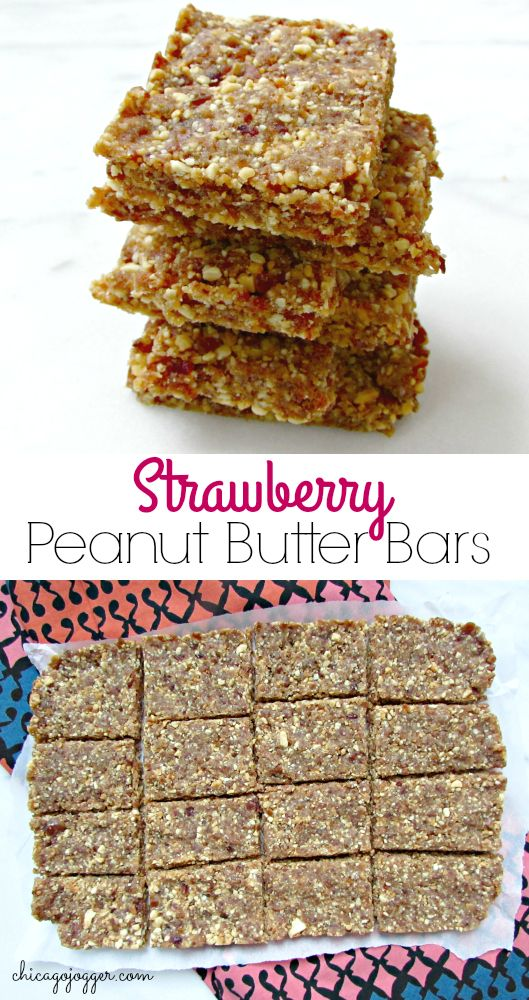 Strawberry Peanut Butter Bars - this snack recipe for no-added sugar, vegan and no-bake bars is delicious and easy to make.   Chicago Jogger