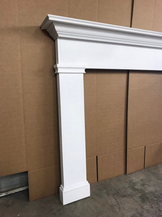1018 Fireplace Mantel Primed White 48 X 42 With Images Faux