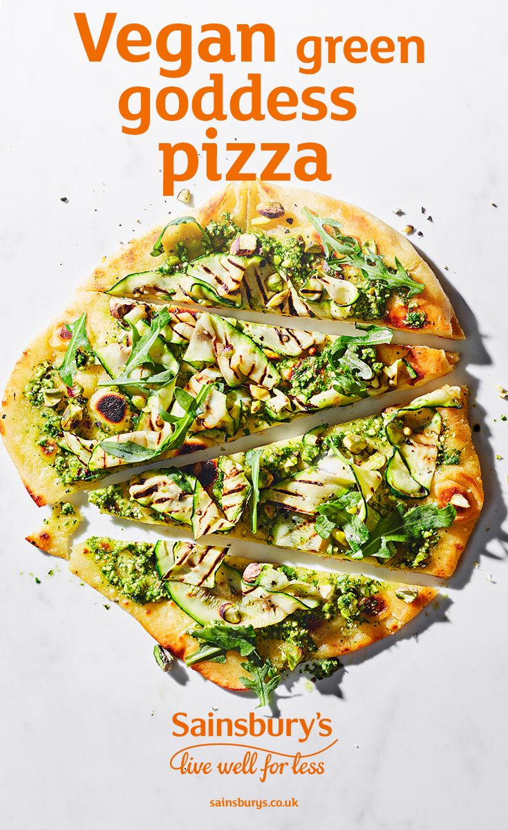 This courgette-topped 'green goddess' pizza sure lives up to its name. Serve it up to your vegan friends - they'll love it.