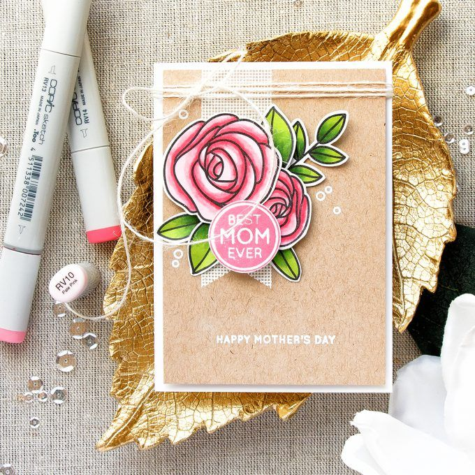 Simon Says Stamp   Elegant Happy Mother's Day Card with Best Mom Ever SSS130501 Stamp Set