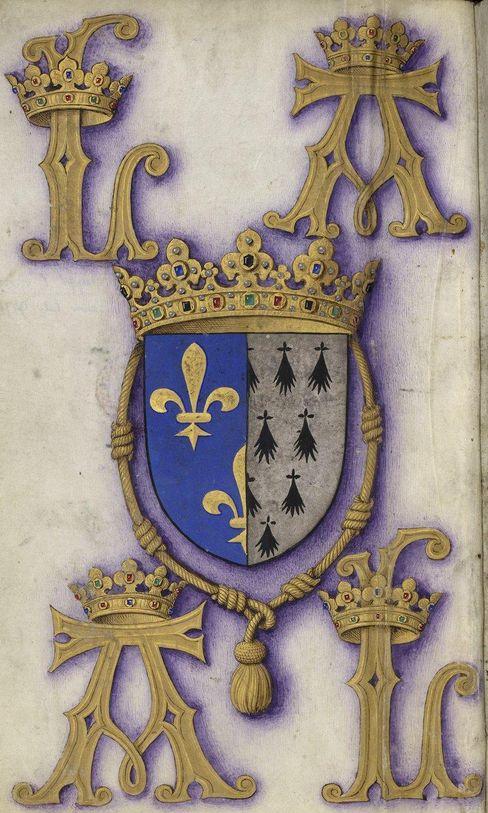 Armes d'Anne de Bretagne, reine de France, Grandes Heures d'Anne de Bretagne, Ms Latin 9474, f°1v
