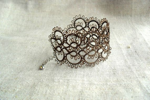 Taupe grey lace bracelet handmade tatting lace by TheScarletLace