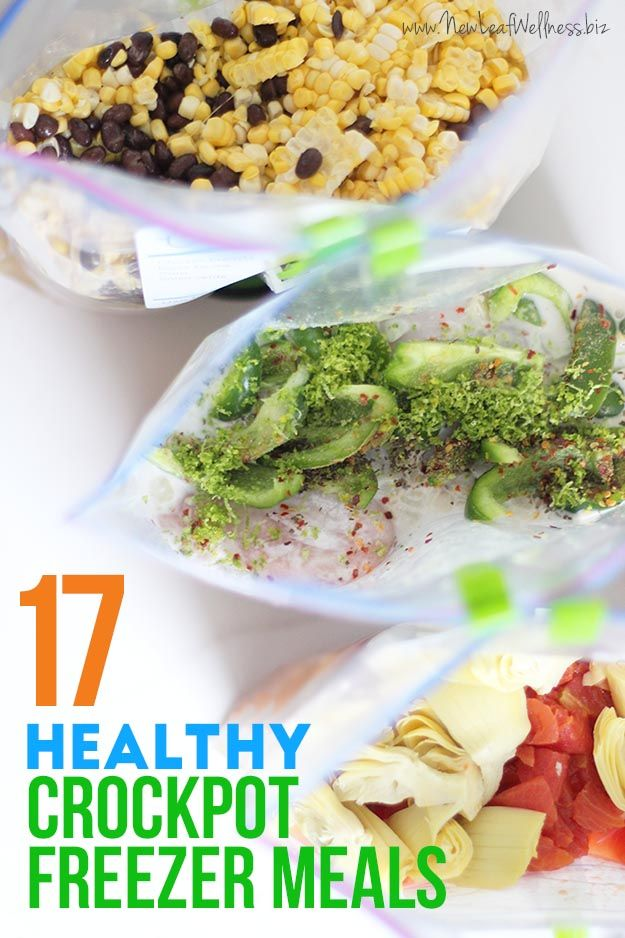 Easy healthy recipes the family will love! | 17 Healthy Crockpot Freezer Meals | www.thirtyhandmadedays.com