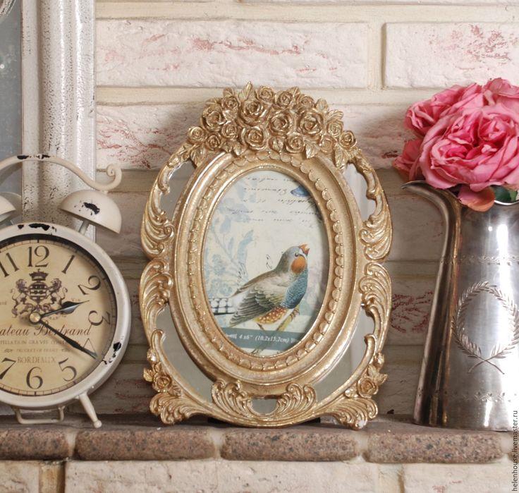 """Купить Рамка для фото овальная """"Золотые розы"""" - рамка, для фото, для дома, интерьер, прованс, стиль"""