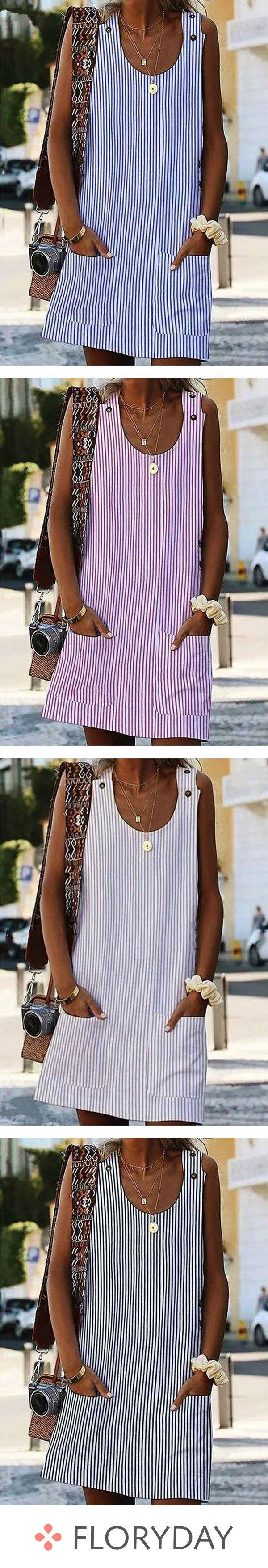 Kurzärmligs kniellanges Kleid mit V-Ausschnitt und Blockfarben