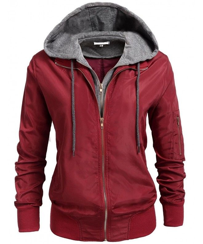 df19e62b36061 Womens Relaxed Fit Double Zipper Hooded Jacket Zip Up Hoodie Coat - Wine  Red - CM184SX4OM7,Women's Clothing, Coats, Jackets & Vests, Trench, Rain &  Anoraks, ...