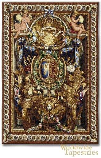 """This tapestry image is by Charles Le Brun from 1662 and was originally intended to hang over a door in a formal interior. In this tapestry """"Portieve Du Char"""" we see emblems of royalty with symbols of power and grandeur such as masks, trumpets, flags, spears, flowers and the crown surrounded by cherubs holding the globe, which can be interpreted to an insight in how the royalty were viewed at the time."""