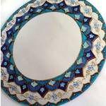 Mandala Azul Em Espelho 30cm