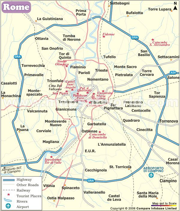 The map shows the cities and towns of Rome. It also shows the famous tourist destinations, highways, rivers and airport of the city.