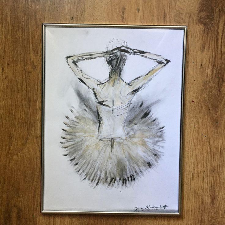 """Lucrare disponibilă : """" Free"""" 2017  Dimensiuni: 30/40 Pret: 225 lei  Detalii: 💌📲#ginamaicanartstyle🎨  #art #balerina #artlife #artist #painter"""