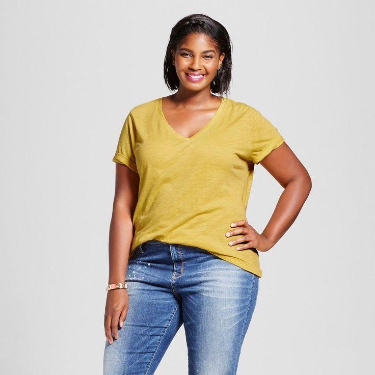 Women's Plus Size V-Neck T-Shirt - Ava & Viv Sulfur Yellow 4X