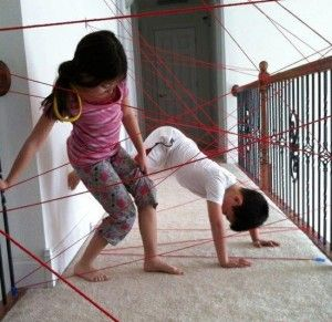 "Make a ""laser grid"" obstacle course with yarn"