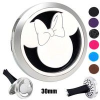 316L Stainless Steel  30mm Minnie Mouse Cartoon Aroma Car Perfume Locket Essential Oil Car Locket