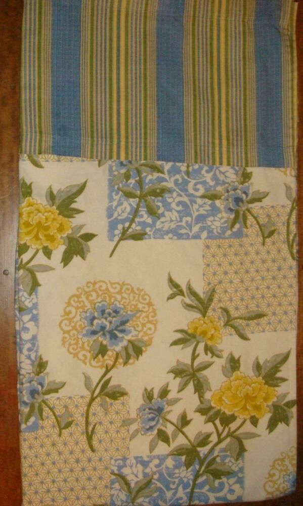 Waverly Sweetwater Stripe Sunny Yellow Blue Floral Fabric Shower