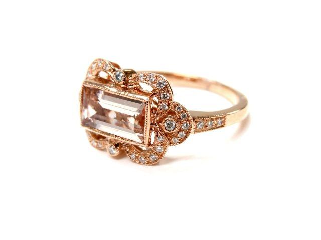 Art Deco Inspired Morganite and Diamond Ring  #artdeco #morganite #rings