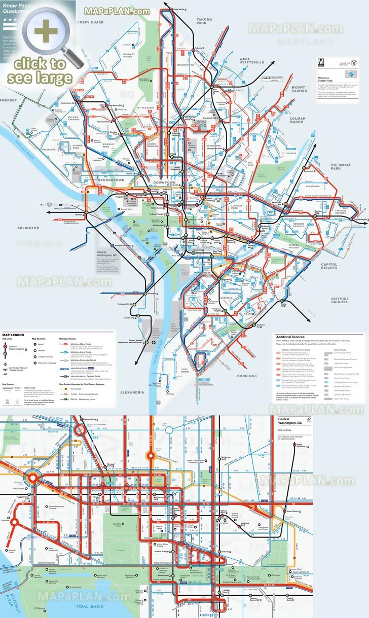 district columbia area metrobus official public transportation network system visitor information washington dc top tourist attractions map [ 728 x 1219 Pixel ]