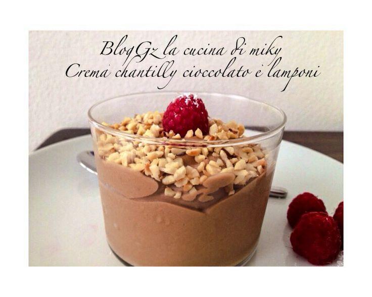 Crema chantilly al cioccolato e lamponi