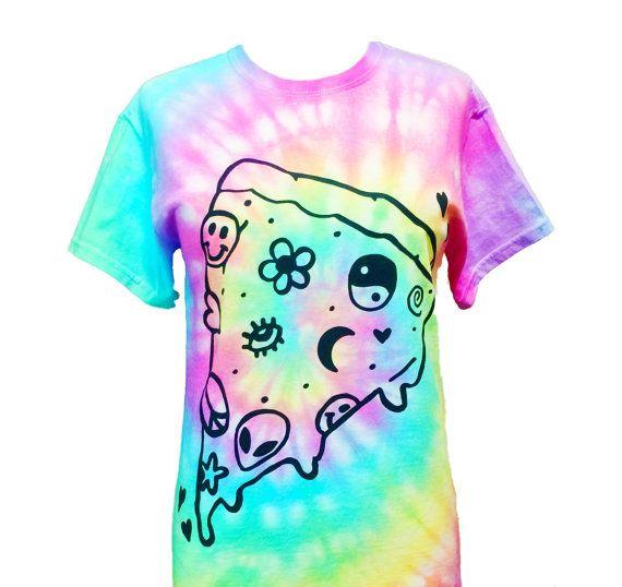 Pastel Pizza T-Shirt - Screen Printed T-Shirt - Pastel Grunge - Yin Yang Smiley Pizza - Alien Shirt - Seapunk - Cyber - Pizza Party